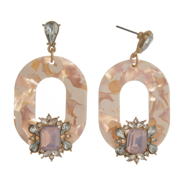 """Gold tone post earring with rhinestone accent and oval acetate shape. Approximately 2"""" in length."""