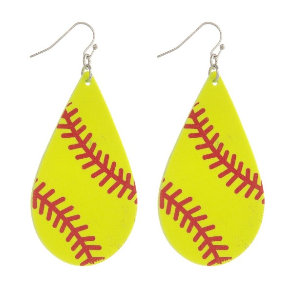 "Metal fishhook earring with softball printed leather teardrop. Approximately 2.5"" in length."