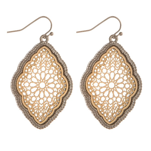 "Fishhook earring with filigree moroccan shape. Approximately 1.5"" in length."