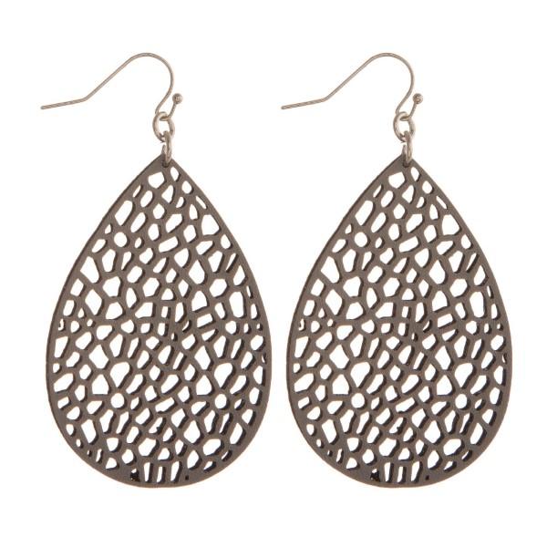 "Silver tone fishhook earring with faux leather teardrop shape. Approximately 2"" in length."