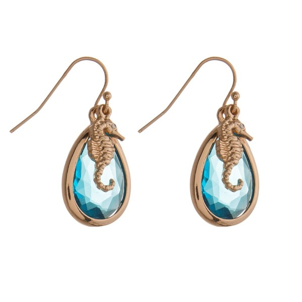 """Gold tone, fishhook earring with sea life charm. Approximately 1.5"""" in length."""
