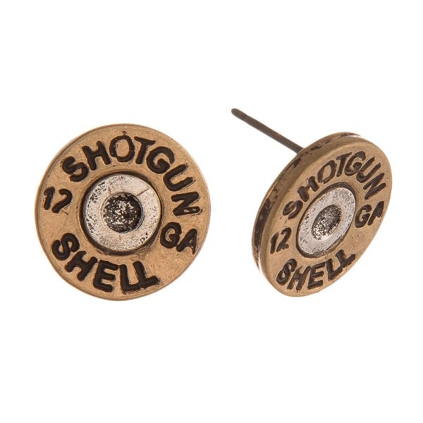 Two tone shotgun shell stud earring. Approximately 14 milimeters in diameter.