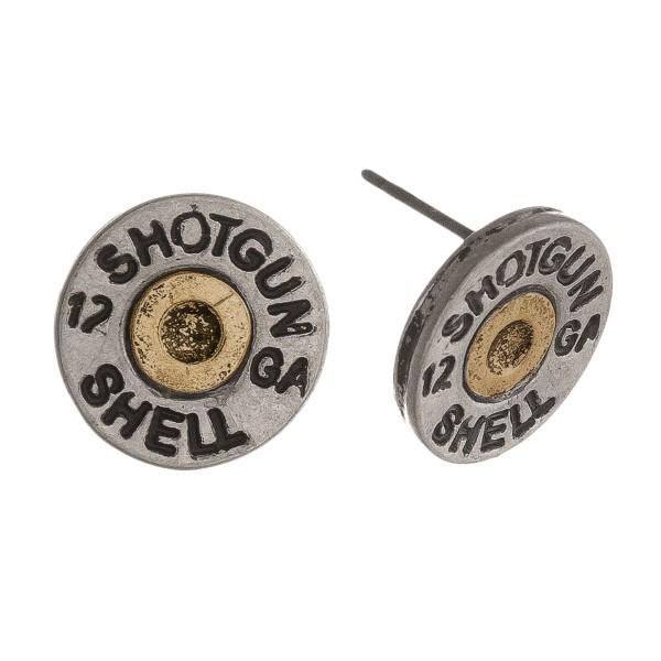 Two tone shotgun shell stud earring. Approximately 14 milimeters in diameter.