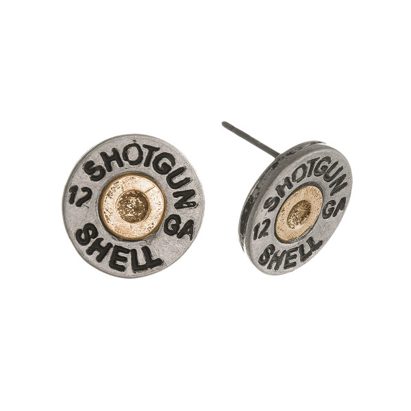 Two tone shotgun shell stud earring. Approximately 12mm in diameter.