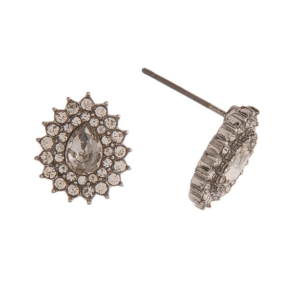 """Silver tone stud earring with teardrop shape and rhinestone detail. Approximately 1/5"""" in length."""