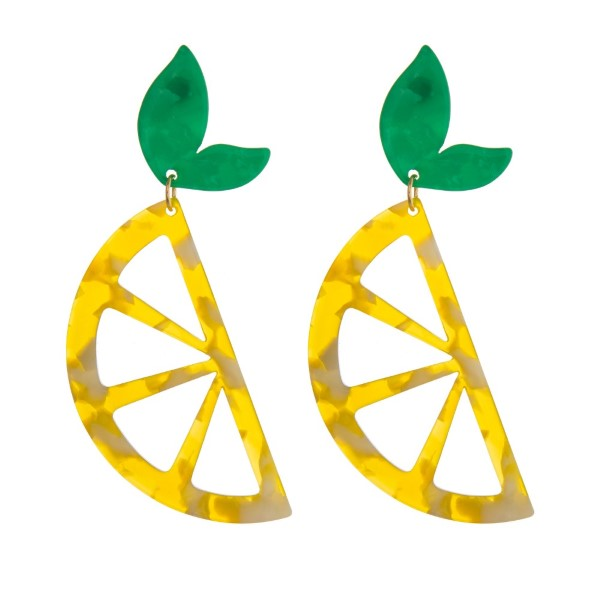 "Gold tone, fishhook earring with acetate lemon shape. Approximately 3"" in length."