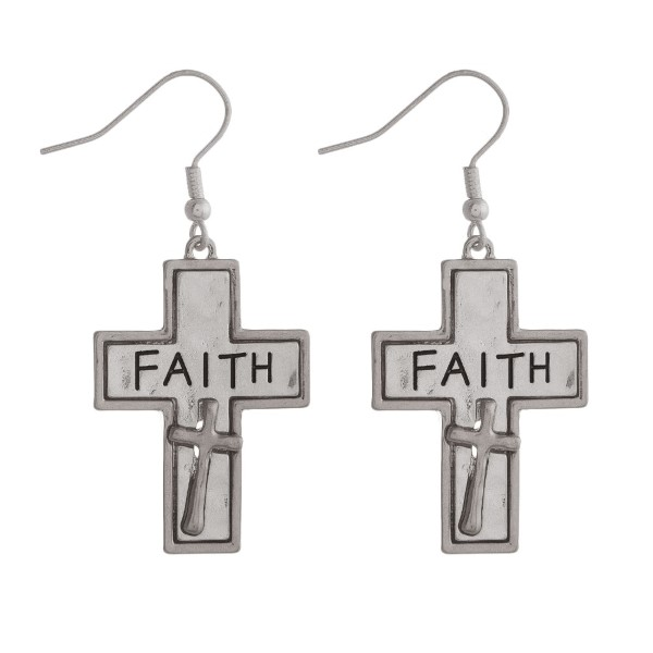 "Fishhook earring with cross stamped with ""Faith."" Approximately 1.5"" in length."