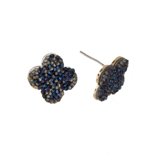 """Druzy stud earrings with clover shape. Approximately 1/2"""" in length."""