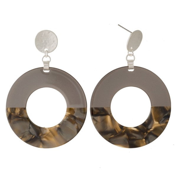 """Gold tone stud earring with acetate circle design. Approximately 2"""" in length."""