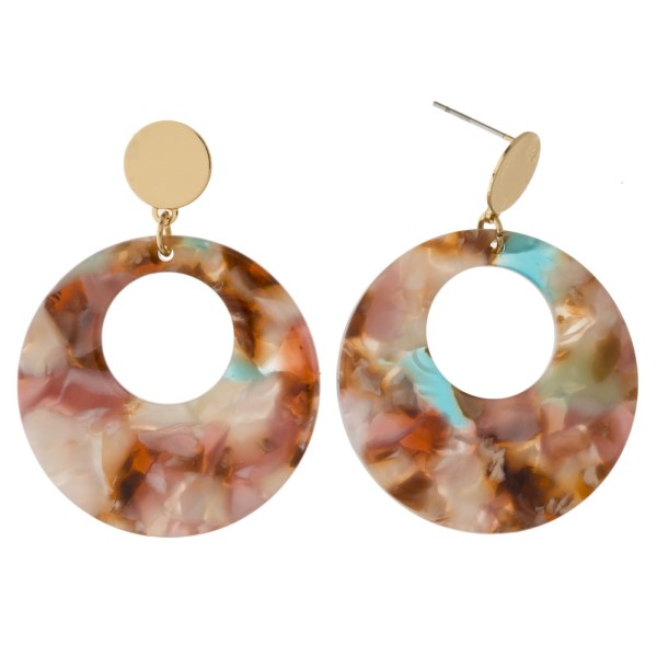 """Gold tone post earring with acetate circle. Approximately 1.5"""" in length."""