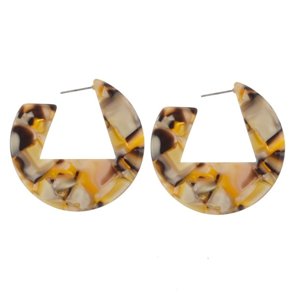 """Geometric acetate hoop earrings. Approximately 1.5"""" in length."""