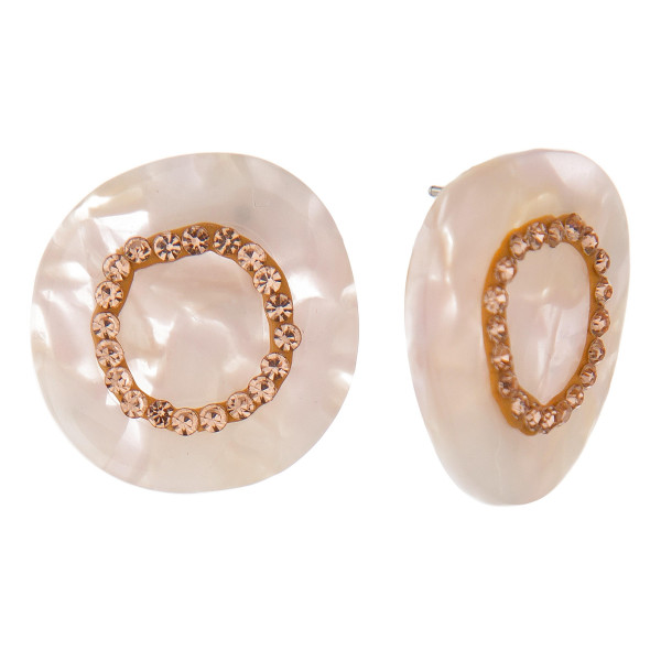 """Acetate post earring with rhinestone detail. Approximately 1"""" in length."""