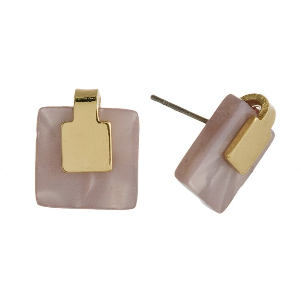 """Gold tone post earring with acetate square design. Approximately 1/2"""" in length."""