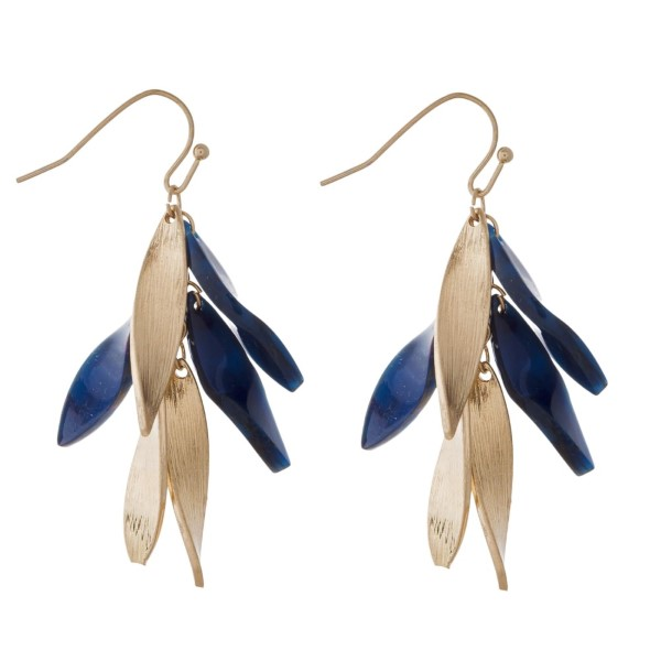 """Gold tone fishhook earring with acetate accents. Approximately 1.5"""" in length."""