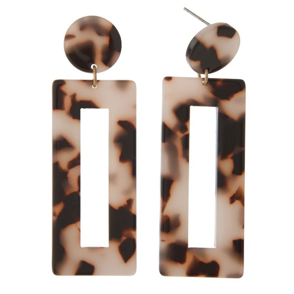 """Acetate stud earring with long rectangle shape. Approximately 2.75"""" in length."""