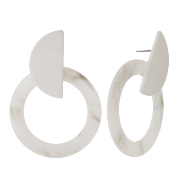 """Stud acetate earring with circle shape. Approximately 2.5"""" in length."""