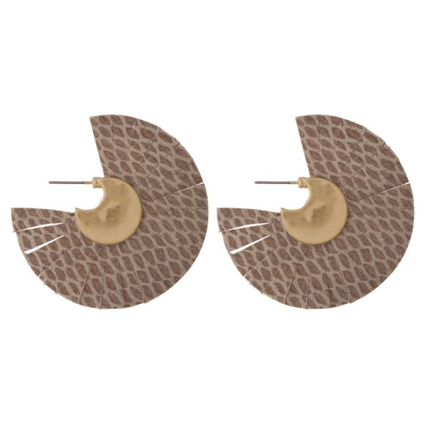 """Gold tone post earring with leather fan. Approximately 2"""" in diameter."""