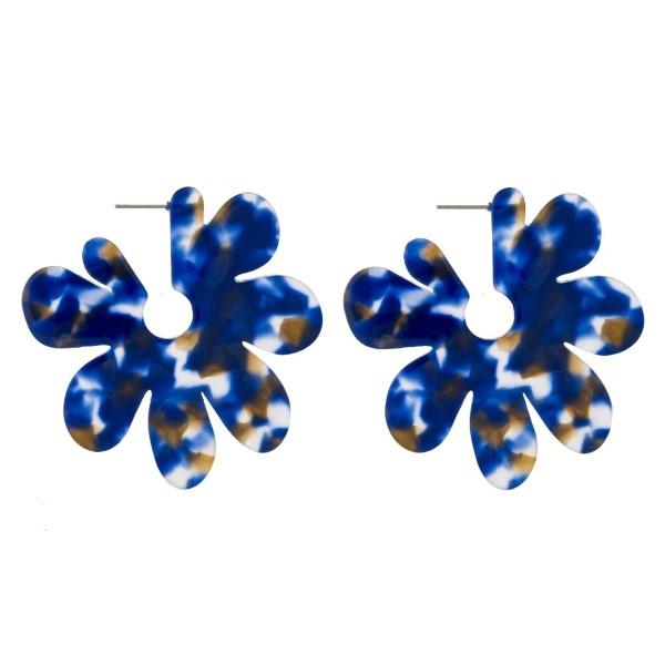 "Stud acetate flower earrings. Approximately 2"" in length."