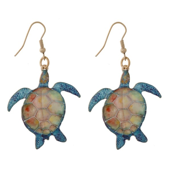 "Metal fishhook earring with printed tropical shape. Approximately 1.5"" in length."