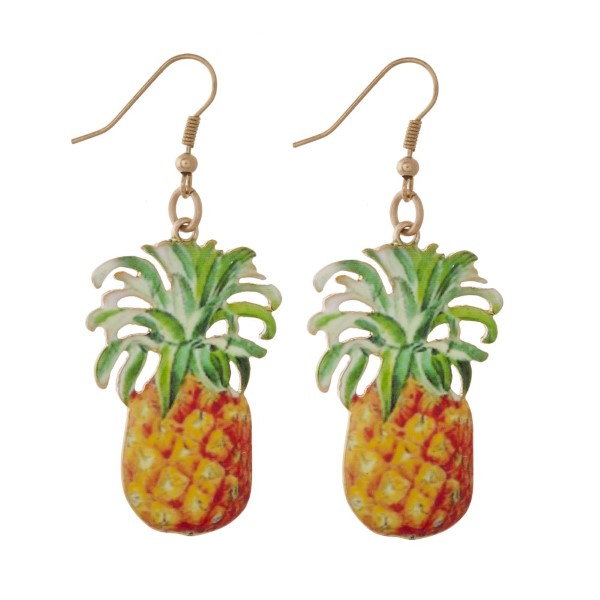 """Metal fishhook earring with printed tropical shape. Approximately 1.5"""" in length."""
