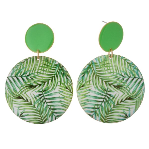 """Metal post earring with tropical circle shape. Approximately 2"""" in length."""