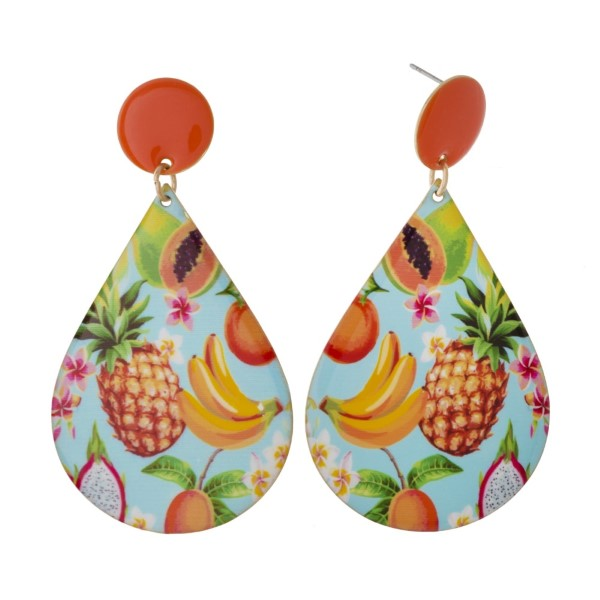 """Metal stud earring with tropical printed teardrop shape. Approximately 3"""" in length."""