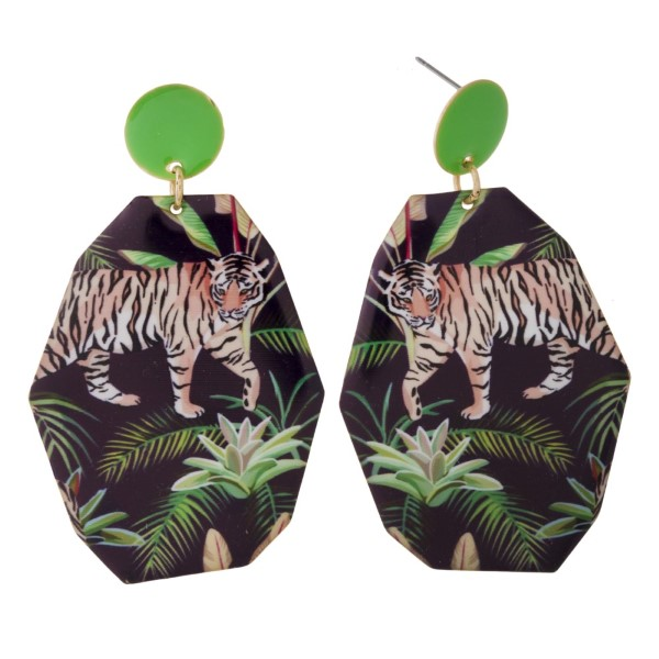 """Metal stud earring with tropical printed geometric shape. Approximately 3"""" in length."""