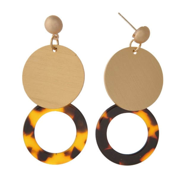 """Gold ton stud earring with acetate circle shape. Approximately 2"""" in length."""