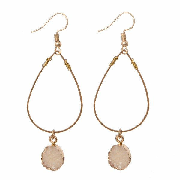 """Gold tone fishhook earring with druzy detail. Approximately 1.5"""" in length."""