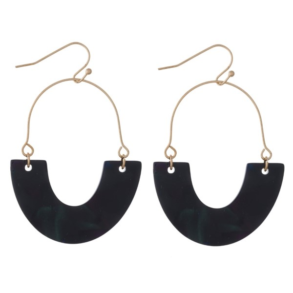 """Gold tone fishhook earring with acetate detail. Approximately 2"""" in length."""