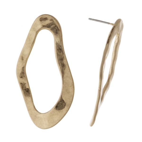 """Hammered metal oval stud earring. Approximately 1.5"""" in length."""
