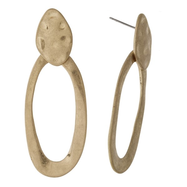 "Hammered oval metal stud earring. Approximately 1.5"" in length."