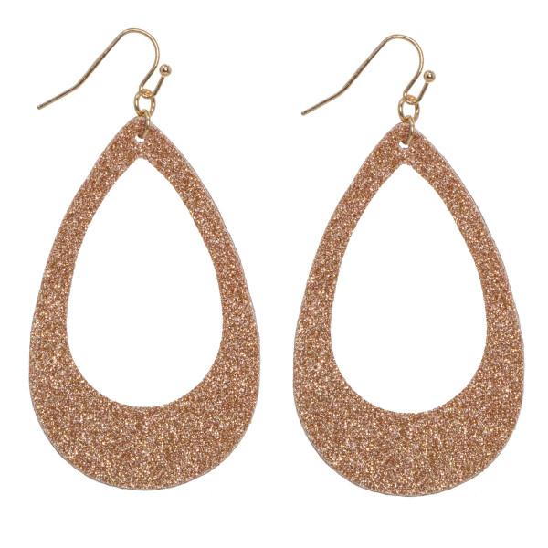 """Long glitter teardrop earring. Approximately 2"""" in length."""