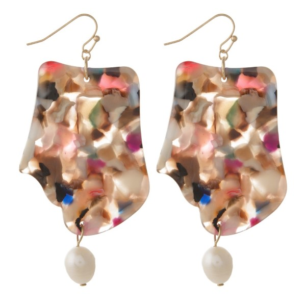 """Long acetate earring with pearl detail. Approximately 2"""" in length."""
