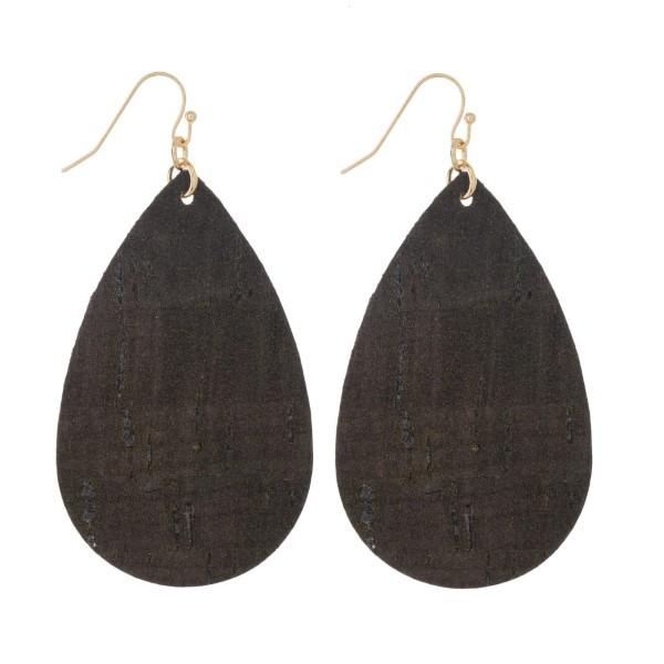 "Gold tone fishhook earring with cork teardrop shape. Approximately 2"" in length."