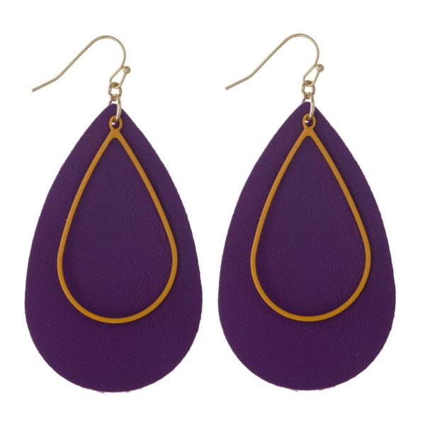Wholesale faux leather teardrop earring metal accent