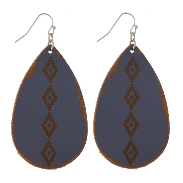 "Long fishhook earring with faux leather teardrop shape. Approximately 2"" in length."