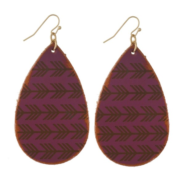 "Fishhook earring with faux leather teardrop shape. Approximately 2"" in length."