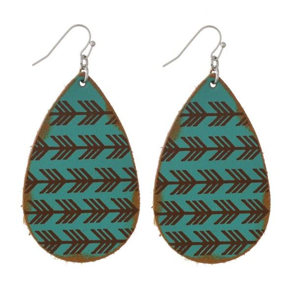 "Fishhook earring with faux leather teardrop shape. Approximately 2"" in length."