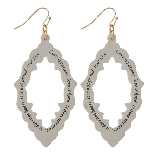 """Long faux leather earring printed with 1 Cor 13:4. Approximately 2"""" in length."""