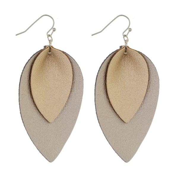 "Double layered leather earring. Approximately 2"" in length."