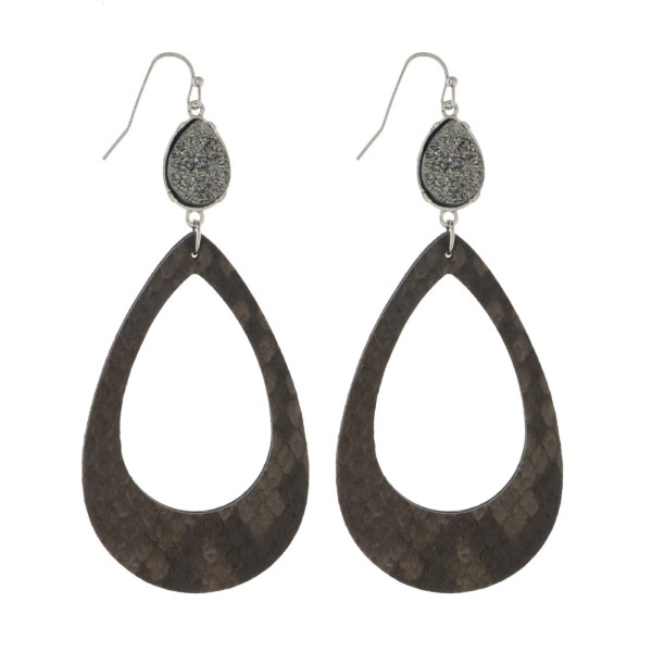 """Fishhook, leather earring with druzy accent. Approximately 3"""" in length."""