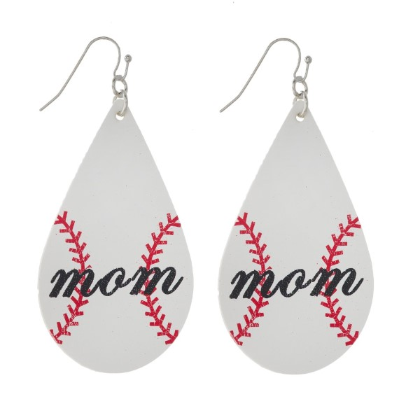 """Silver tone fishhook earring with baseball mom stamped teardrop shape. Approximately 2"""" in length."""