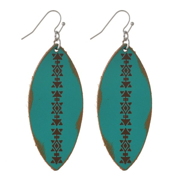 """Gold tone fishhook earring with faux leather feather shape. Approximately 3"""" in length."""