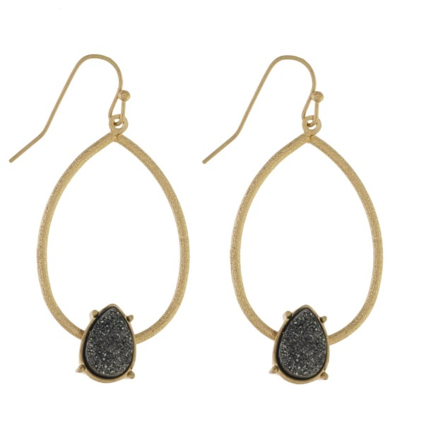 """Fishhook earring with oval shape and druzy detail. Approximately 1.5"""" in length."""