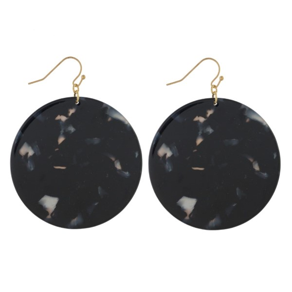 """Gold tone fishhook earrings with circle acetate design. Approximately 2"""" in diameter."""