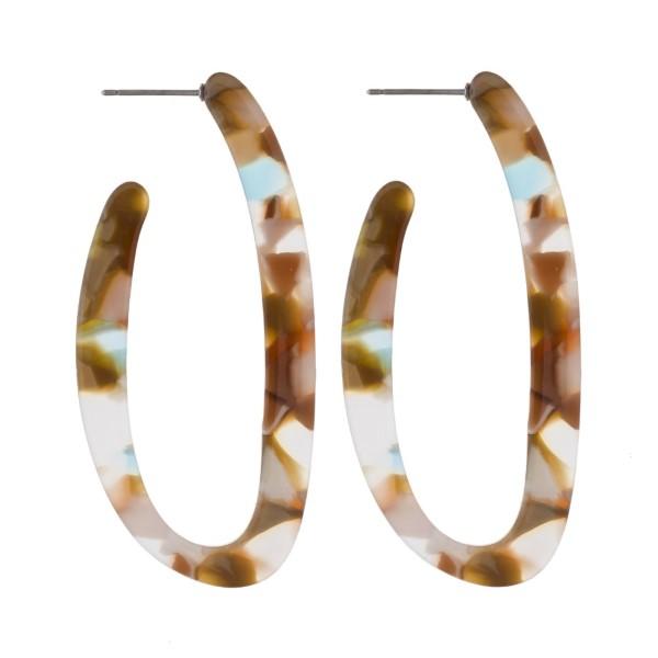 "Oblong acetate hoop earring. Approximately 2"" in length."