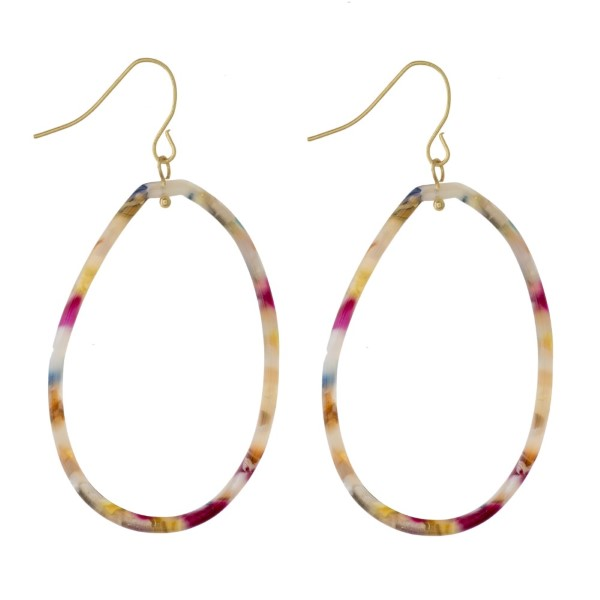 "Dainty acetate oval earrings. Approximately 2"" in length."