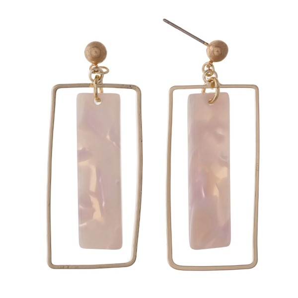 "Gold tone stud earring with acetate rectangular shape. Approximately 2"" in length."