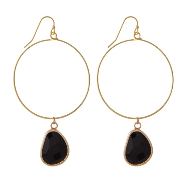 "Gold tone hoop earring with natural stone charm Approximately 2"" in length."